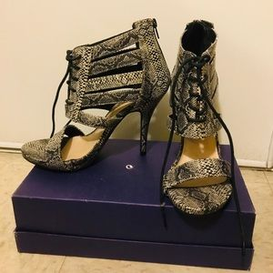 Snake pattern heels